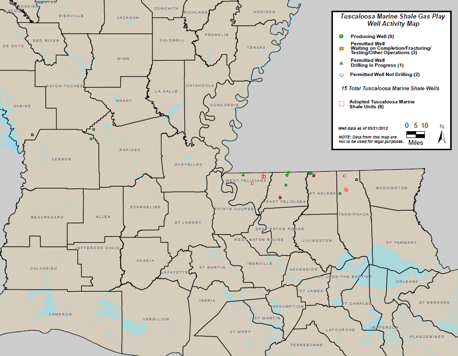 Tuscaloosa Marine Shale Gas Play Well Activity Map (PDF)