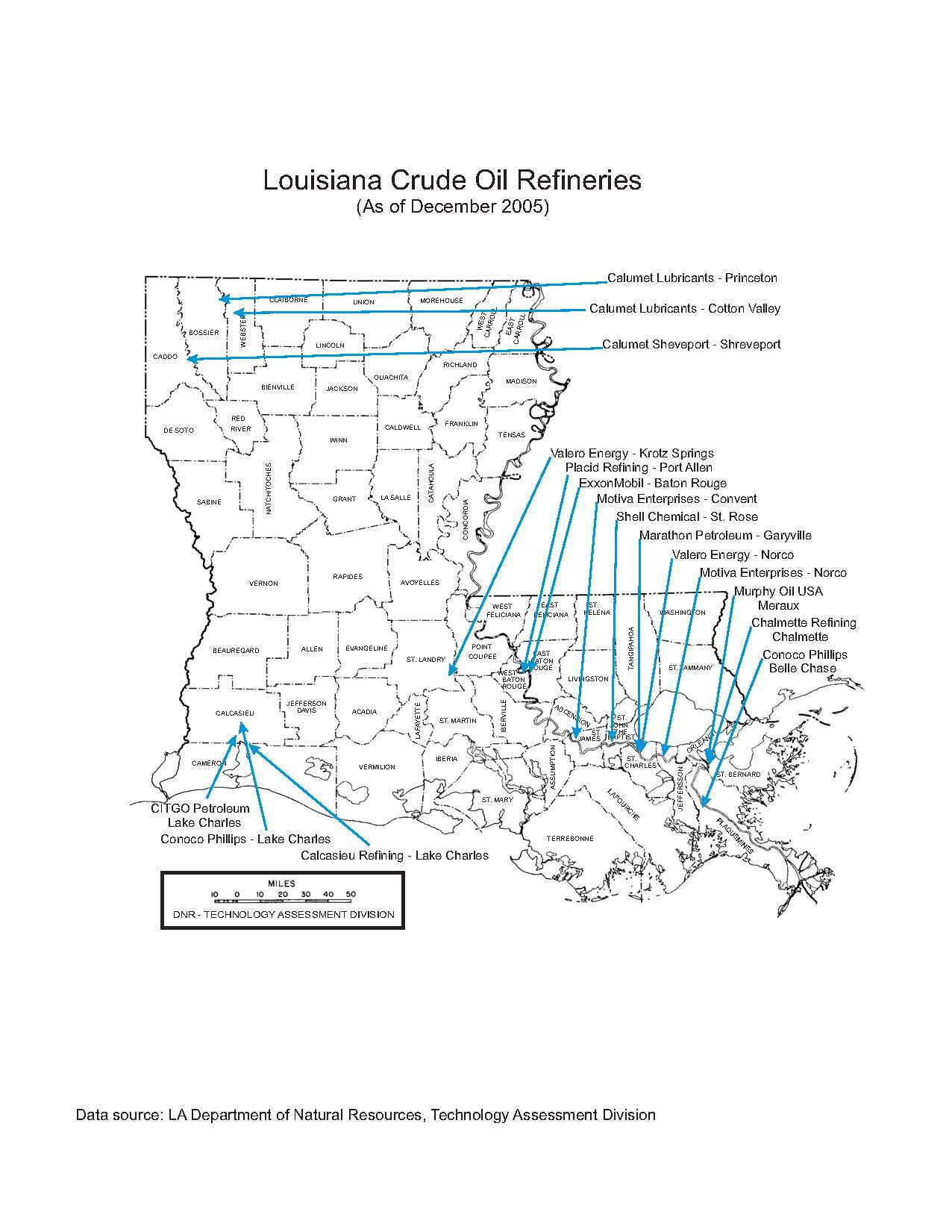 Department Of Natural Resources State Of Louisiana - Us refinery map